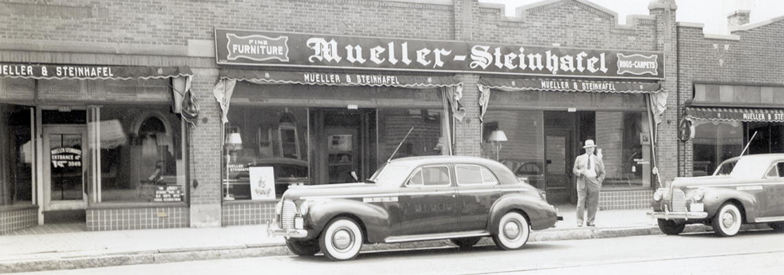 Arthur Mueller & John E Steinhafel open Mueller-Steinhafel Furniture at 3565 North Teutonia Avenue in Milwaukee.