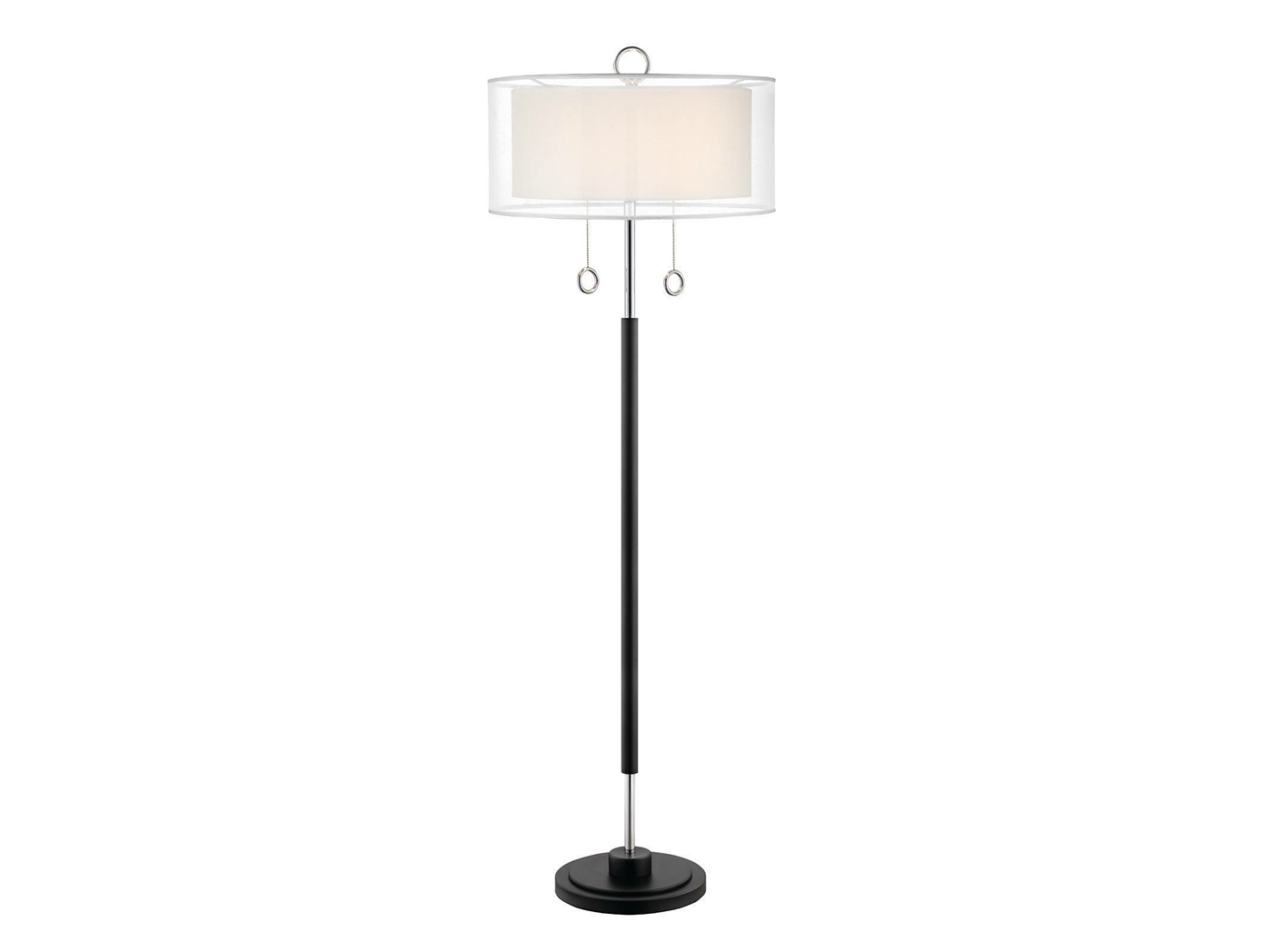"Black and Chrome Double Shade Floor Lamp 62""H"