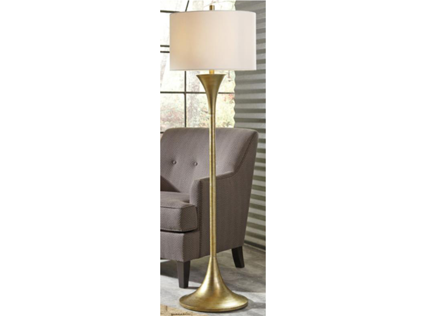 "Antique Gold Floor Lamp 60""H"