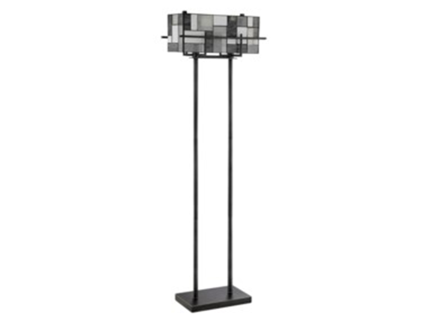 "Grey Rectangular Shade Tiffany-Style Glass Floor Lamp 65""H"
