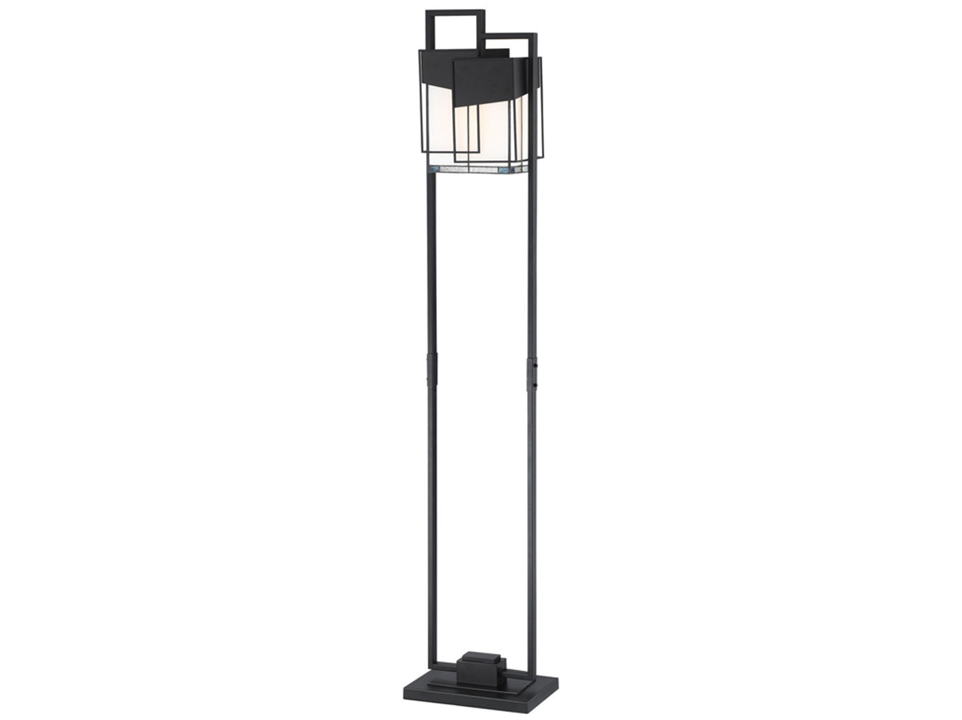 "Black Metal & Tiffany-Style Glass Floor Lamp 59.5""H"