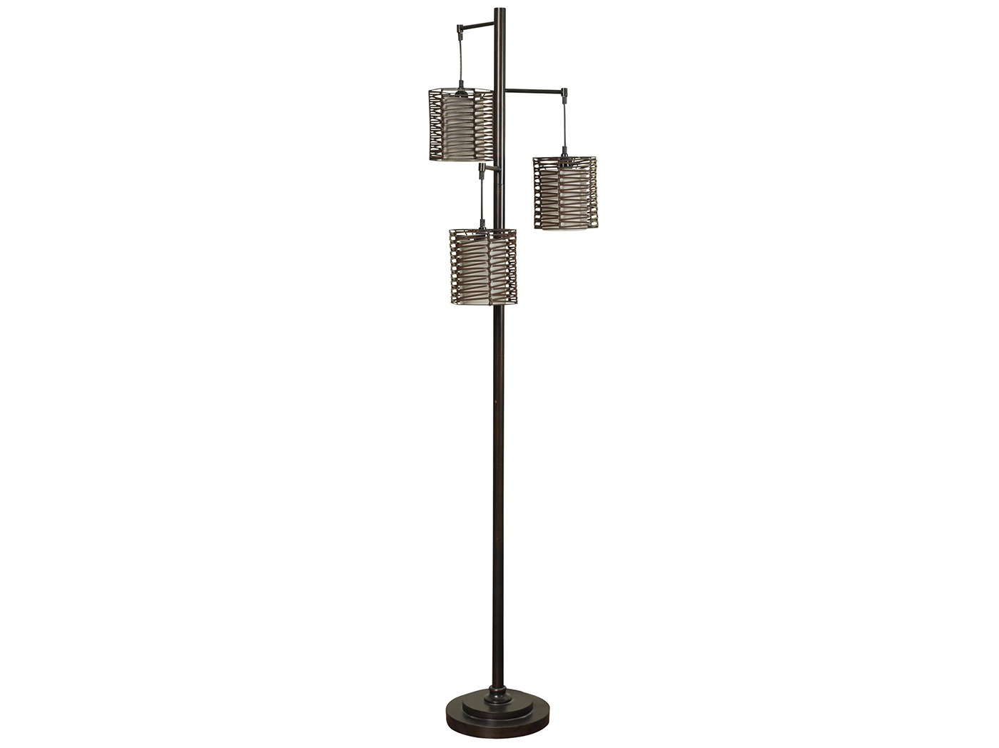 "Bronze W/Handwoven Shades Floor Lamp 71.5""H"