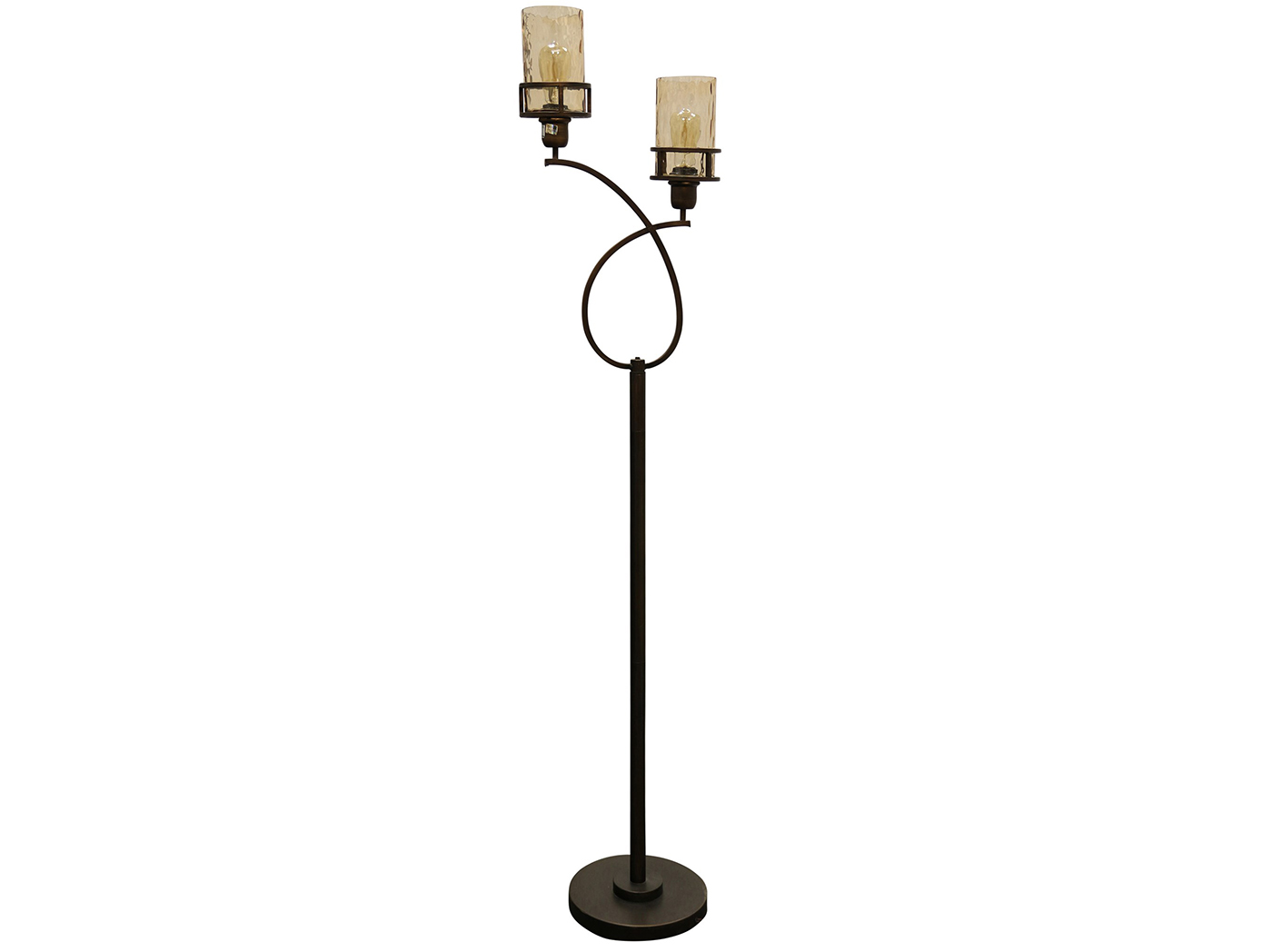 "2-Lite Bronze and Smoke Glass Shade Floor Lamp With Edison Bulb 68""H"