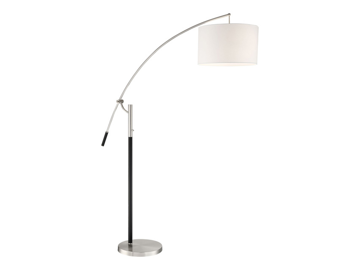 "Brushed Nickel/Black Floor Arc Lamp 80""H"