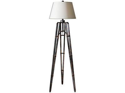 "Tustin Oxidized Bronze Tripod Metal Floor Lamp 68""H"