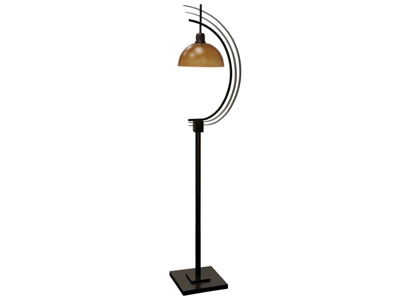 "Amber Glass/Metal Floor Lamp 63""H"