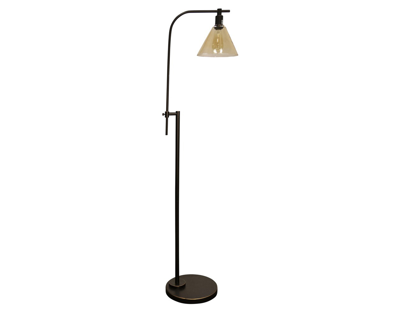 "Bronze Steel With Glass Shade Floor Lamp With Edison Bulb 68""H"