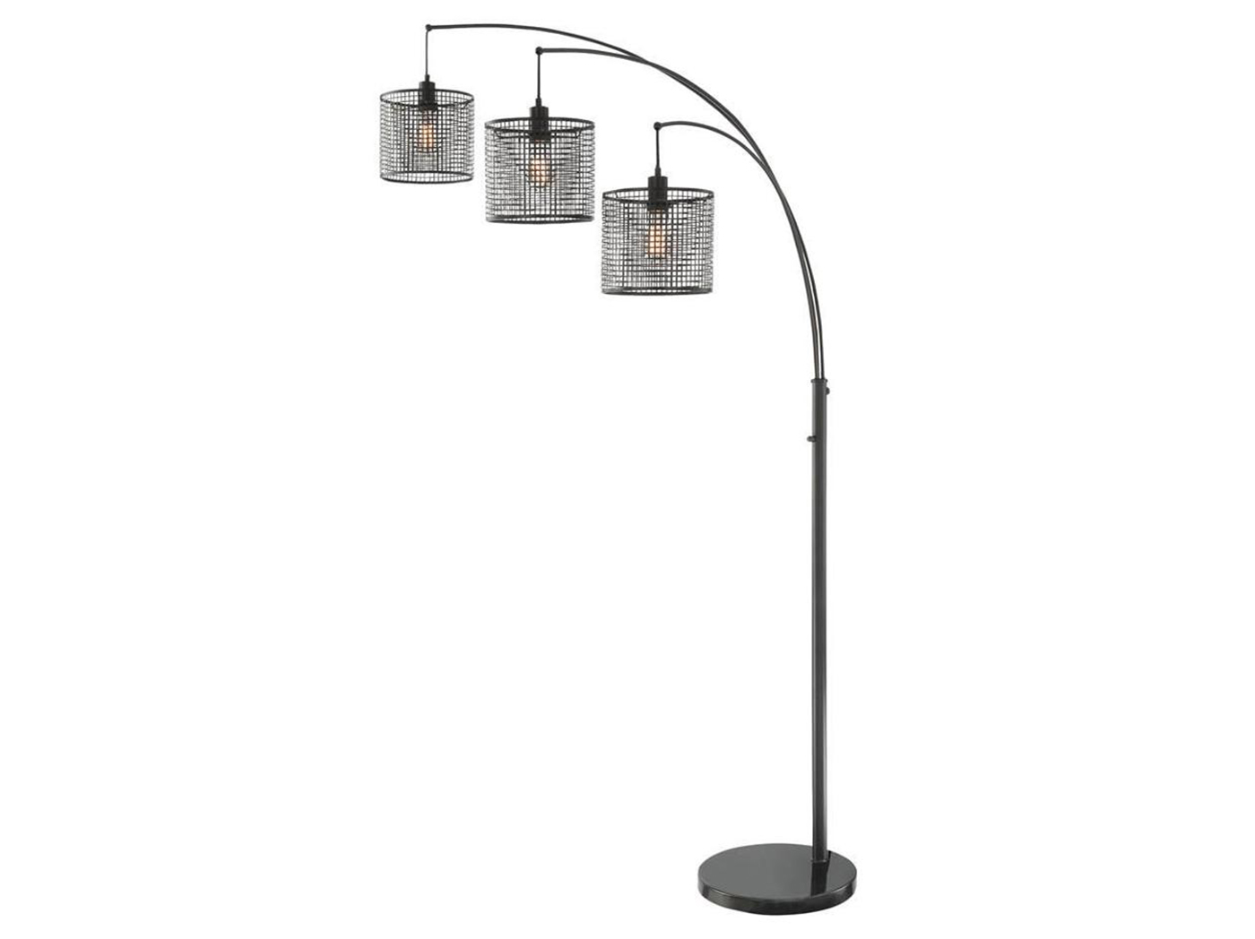 "Black Caged 3-Light Arc Lamp 86.5""H With Edison Bulbs"