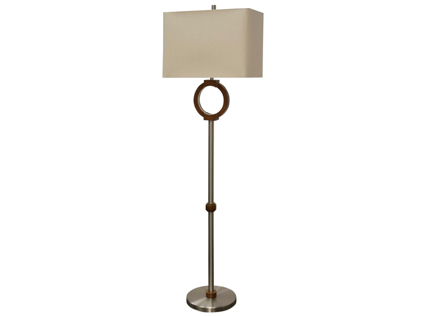 "Wood w/LED Inner Ring Floor Lamp 62""H"