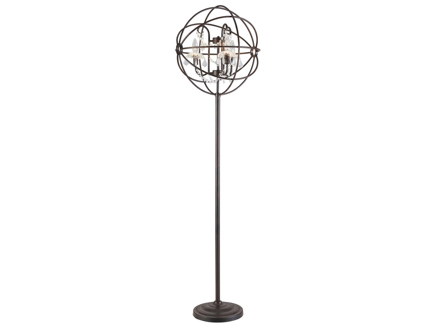 "Bronze Metal and Crystal Floor Lamp 66.5""H  With Bulbs"