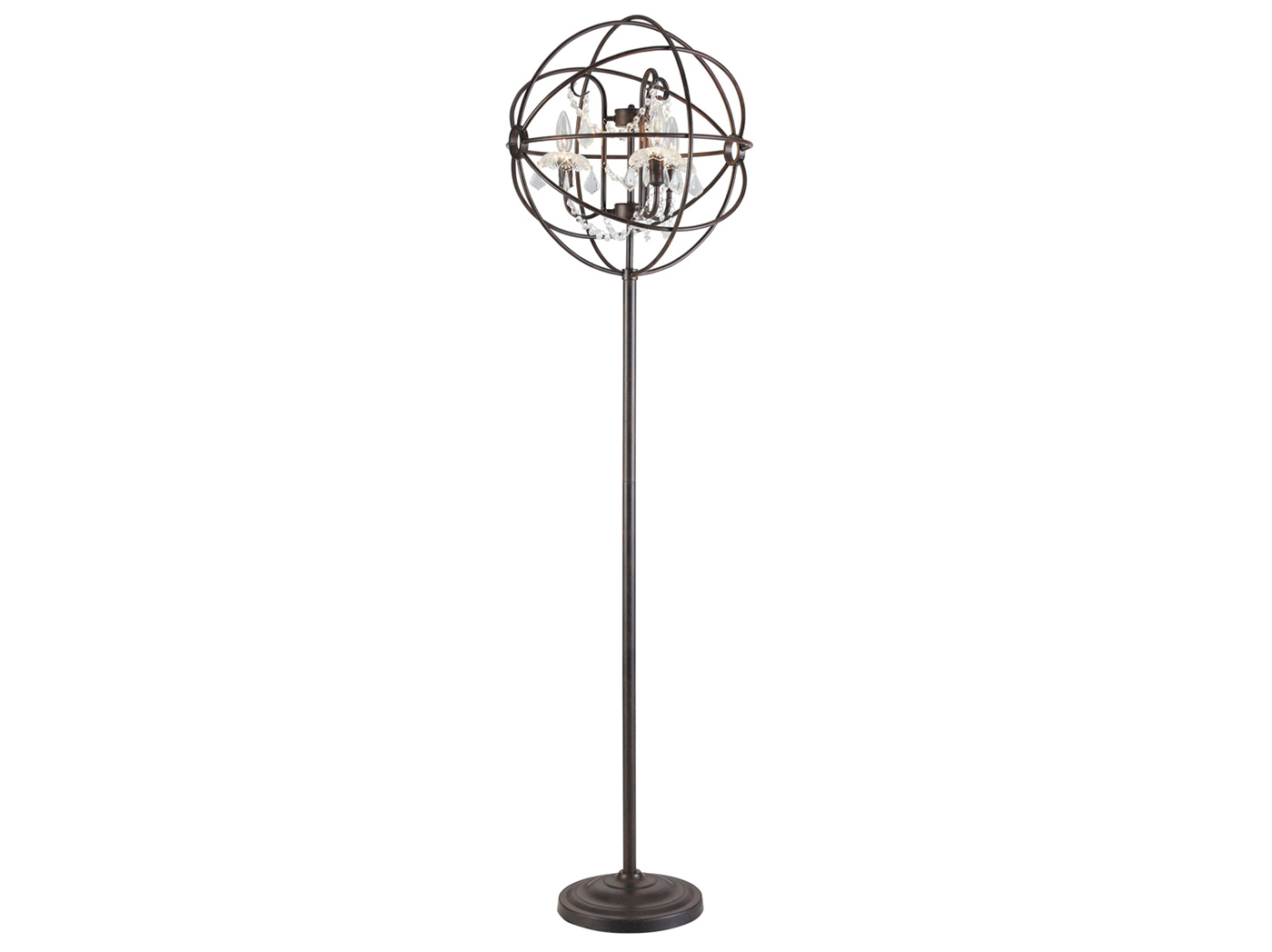 "Bronze Metal and Crystal Floor Lamp 66.5""H"