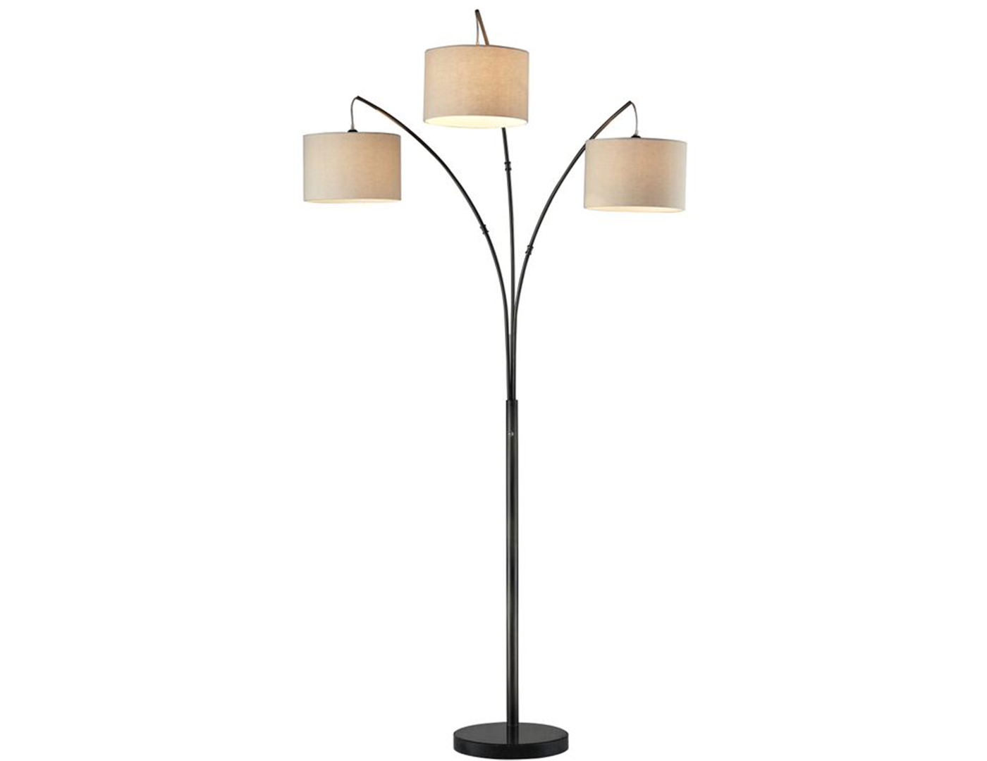"Bronze 3-Light With Drum Shades Floor Arc Lamp 84""H"