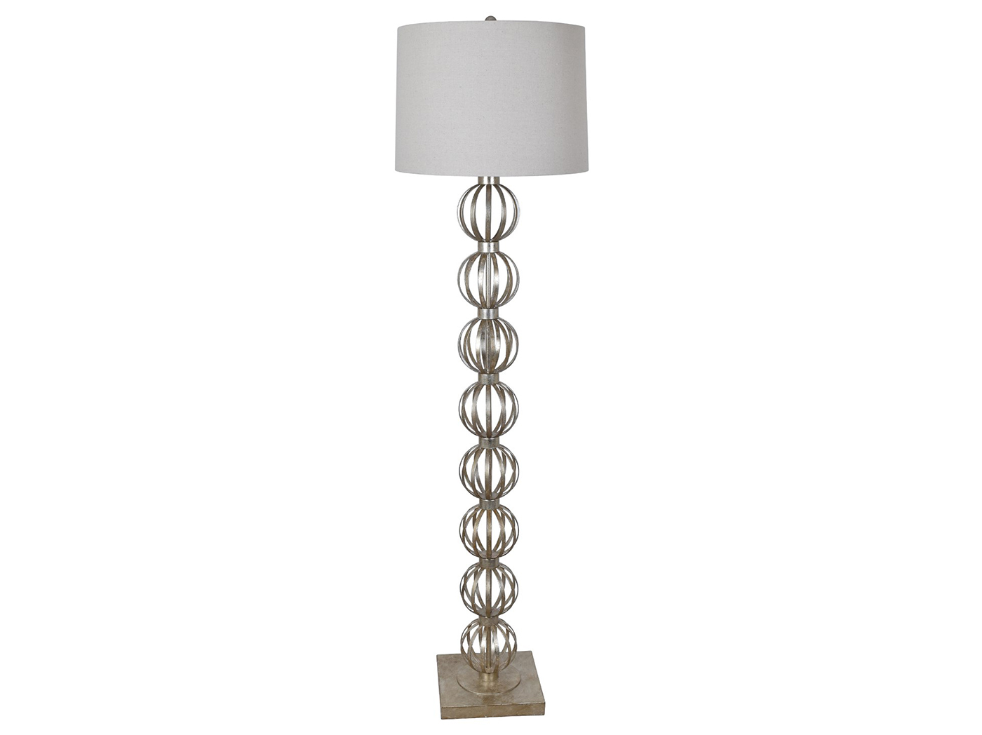 "Metal Silver Leaf Balls Floor Lamp 64""H"