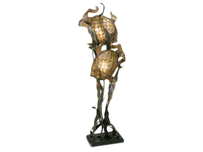 Twin Fish Floor Lamp 	28X15X76H