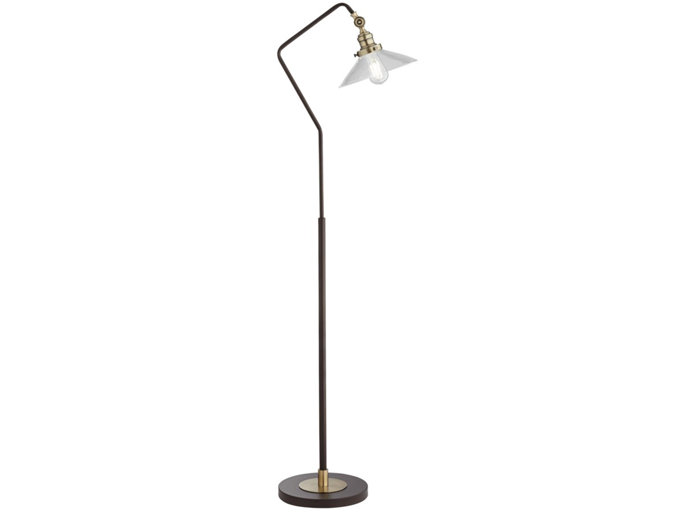 "Bronze Metal with Glass Shade Floor Lamp 56""H  Bulb Included"