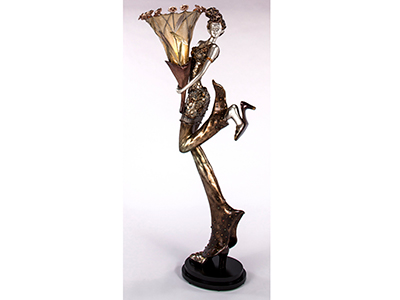 Bronze Lady with Flower Floor Lamp 69""