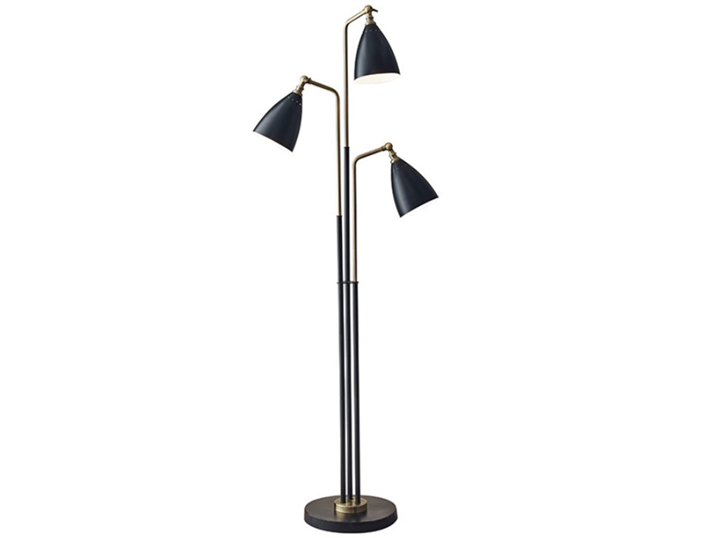 "3-Lite Black Metal Floor Lamp 62""H"