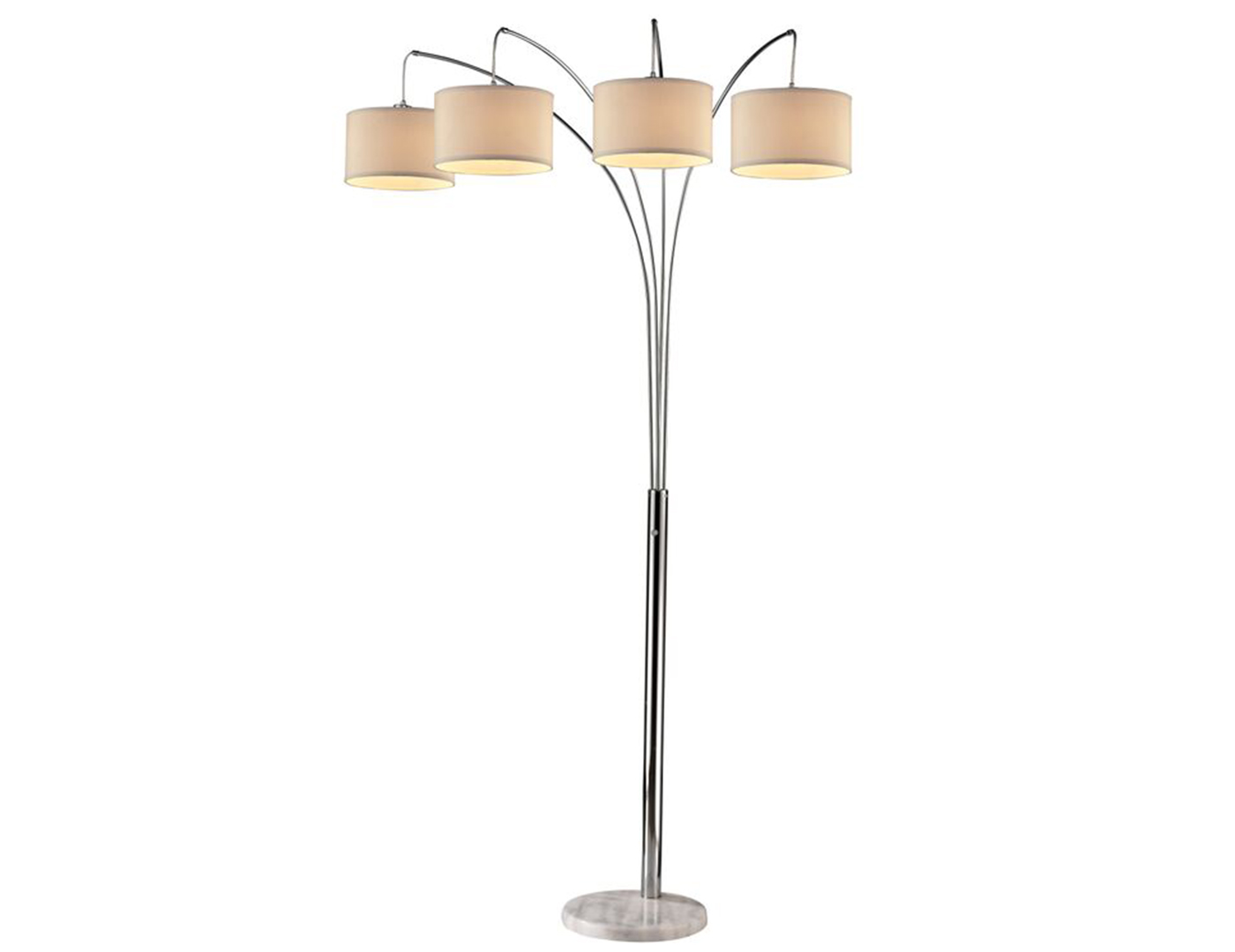 "Silver 4-Light With Drum Shades Floor Arc Lamp 84""H"