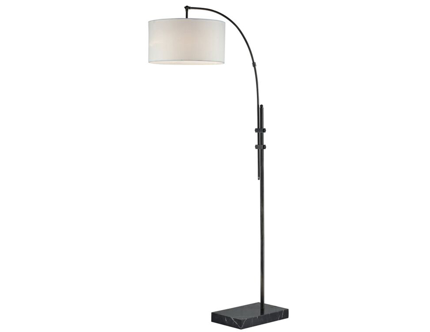 "Bronze With Drum Shade Single Lite Arc Floor Lamp 72""H"