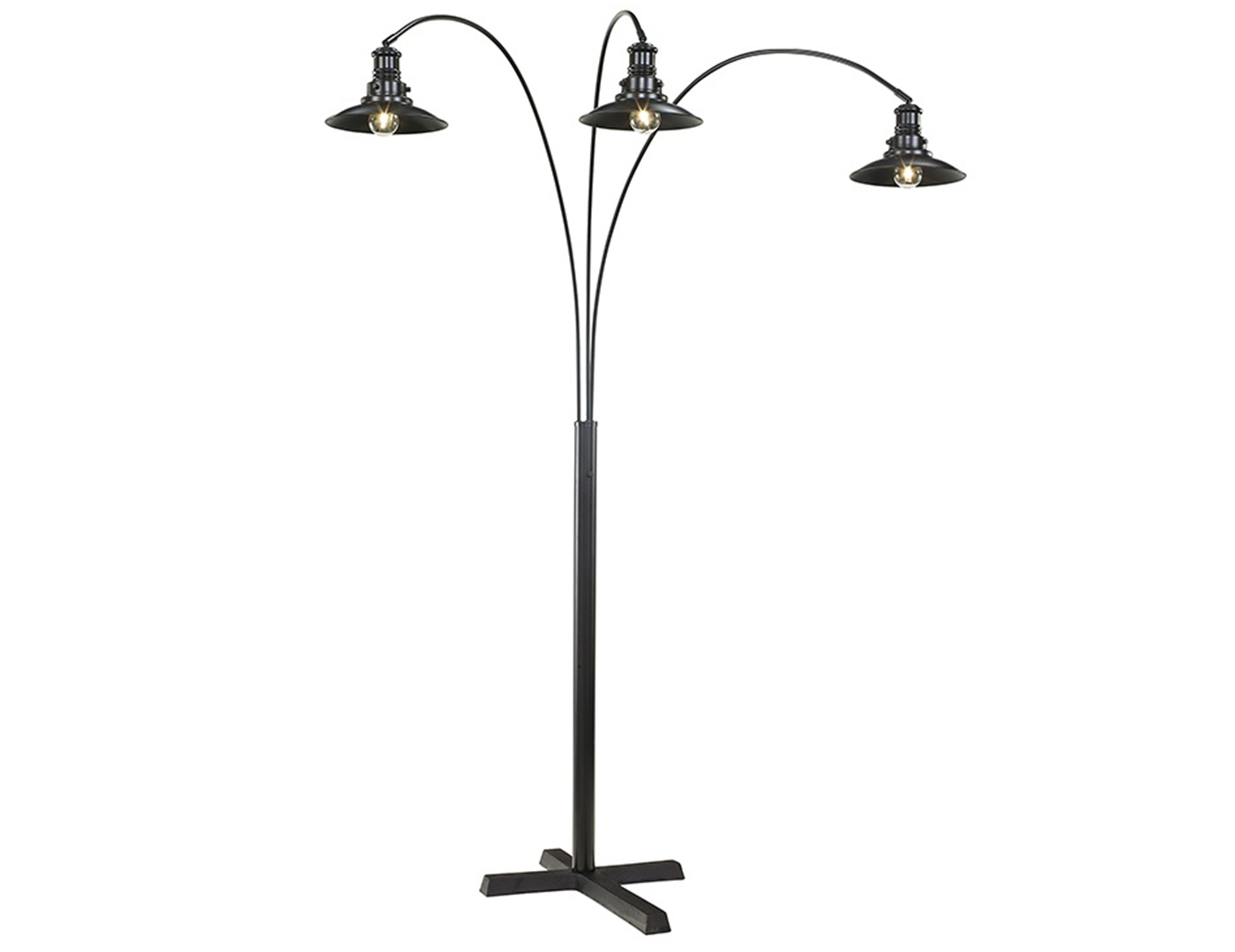 "Black Metal Urban 3-Light Arc Lamp 83""H"