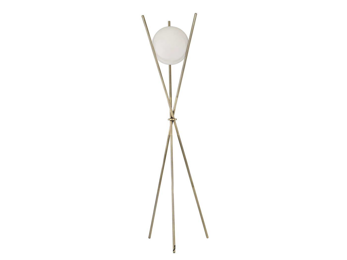 "Gold Metal Tripod Orb Floor Lamp 59""H"