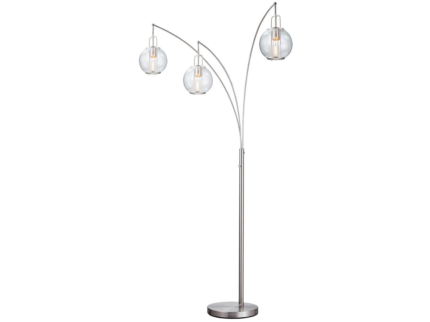 "Glass Shade Arc Floor Lamp 89""H"