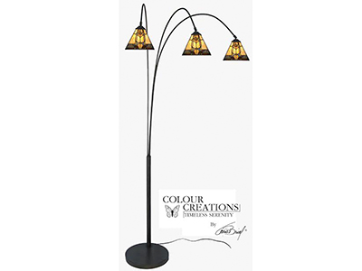 "Marley 3-Lite Tiffany-Style Arc Floor Lamp 79""H"