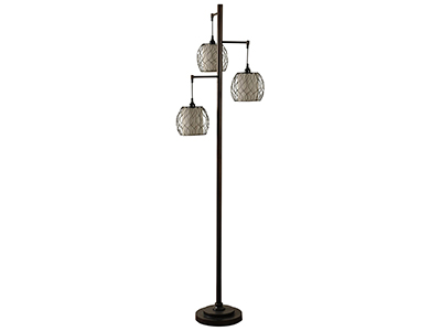 "Antique Bronze with Caged Woven Shades 3-Lite Floor Lamp 72""H"