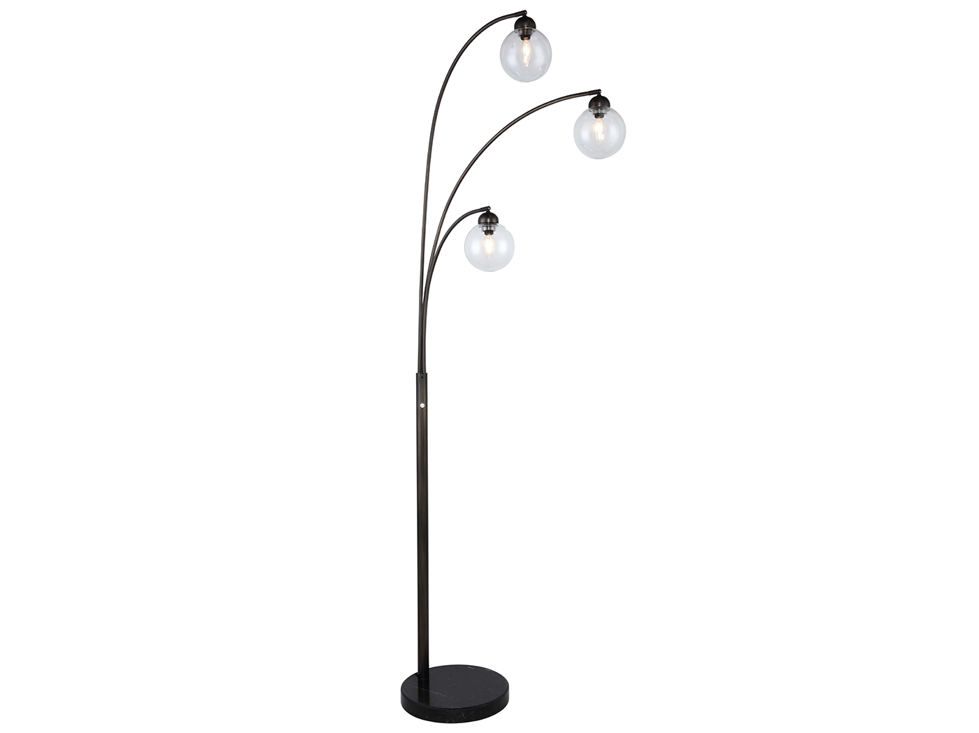 "Tri-Light Glass Globe Floor Arc Lamp 83""H"
