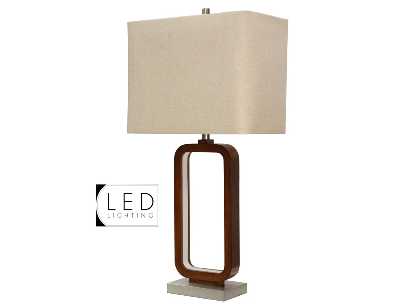 "Brown Rectangular LED Table Lamp 34""H"