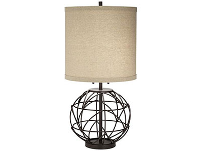 "Bronze Metal Sphere Table Lamp 32""H"