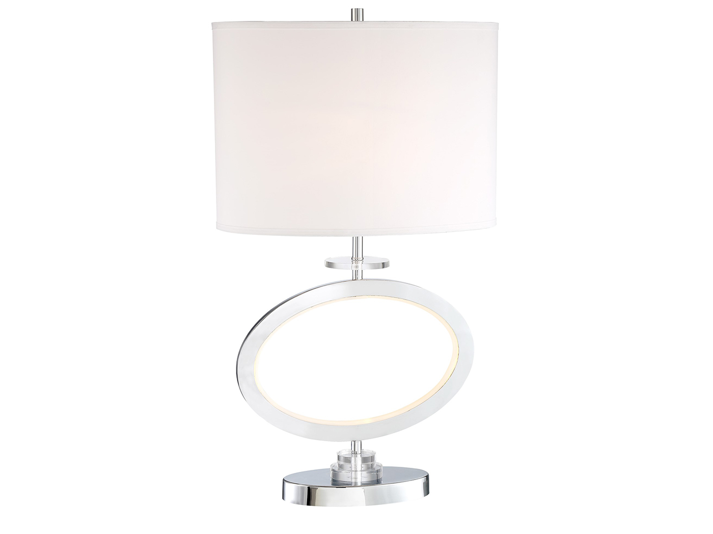 "Chrome Oval With Nite Lite Table Lamp 28.5""H"