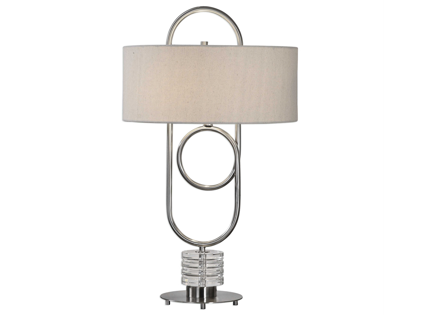 "Silver Metal Oval Table Lamp 31""H"