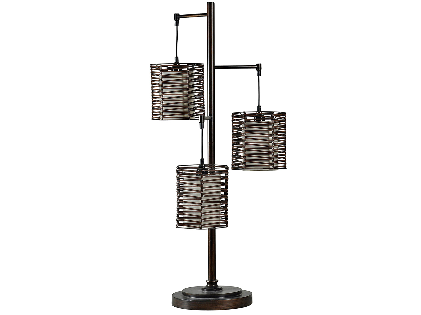 "Bronze W/Handwoven Shades Table Lamp 37""H"