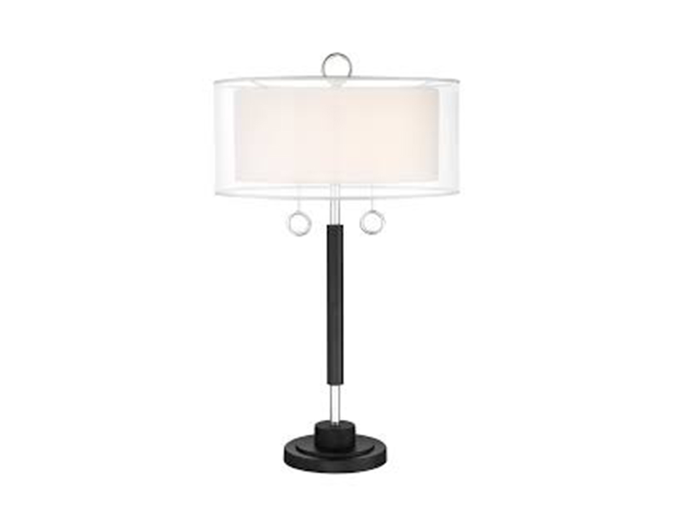 "Black and Chrome Double Shade Table Lamp 31""H"