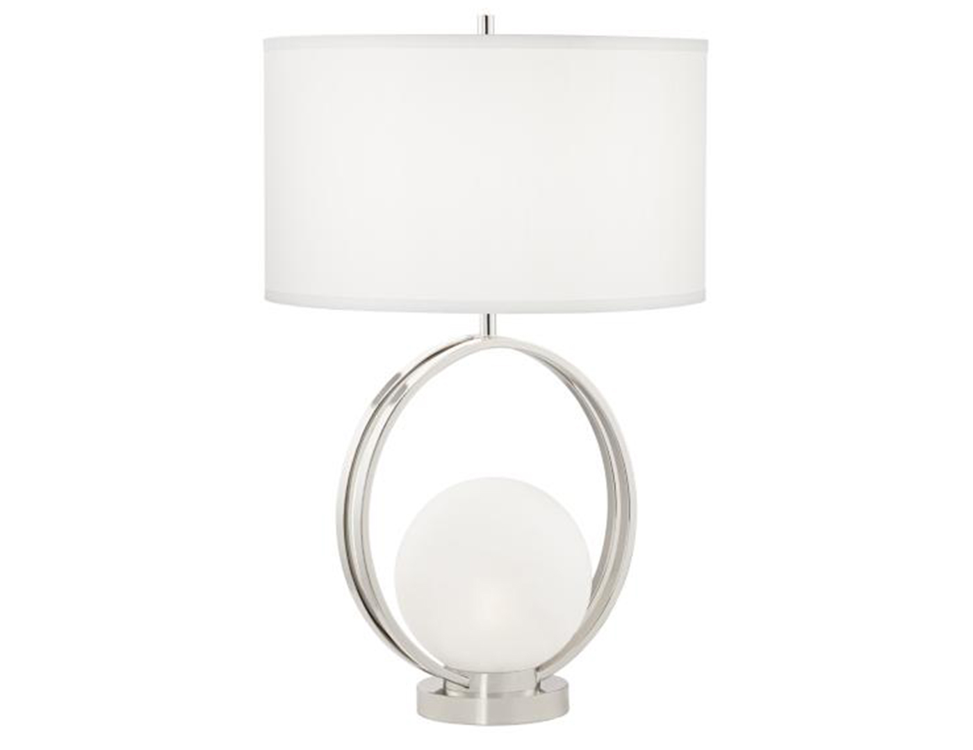 "Polished NIckel Circle With Nite Lite Table Lamp 27""H"