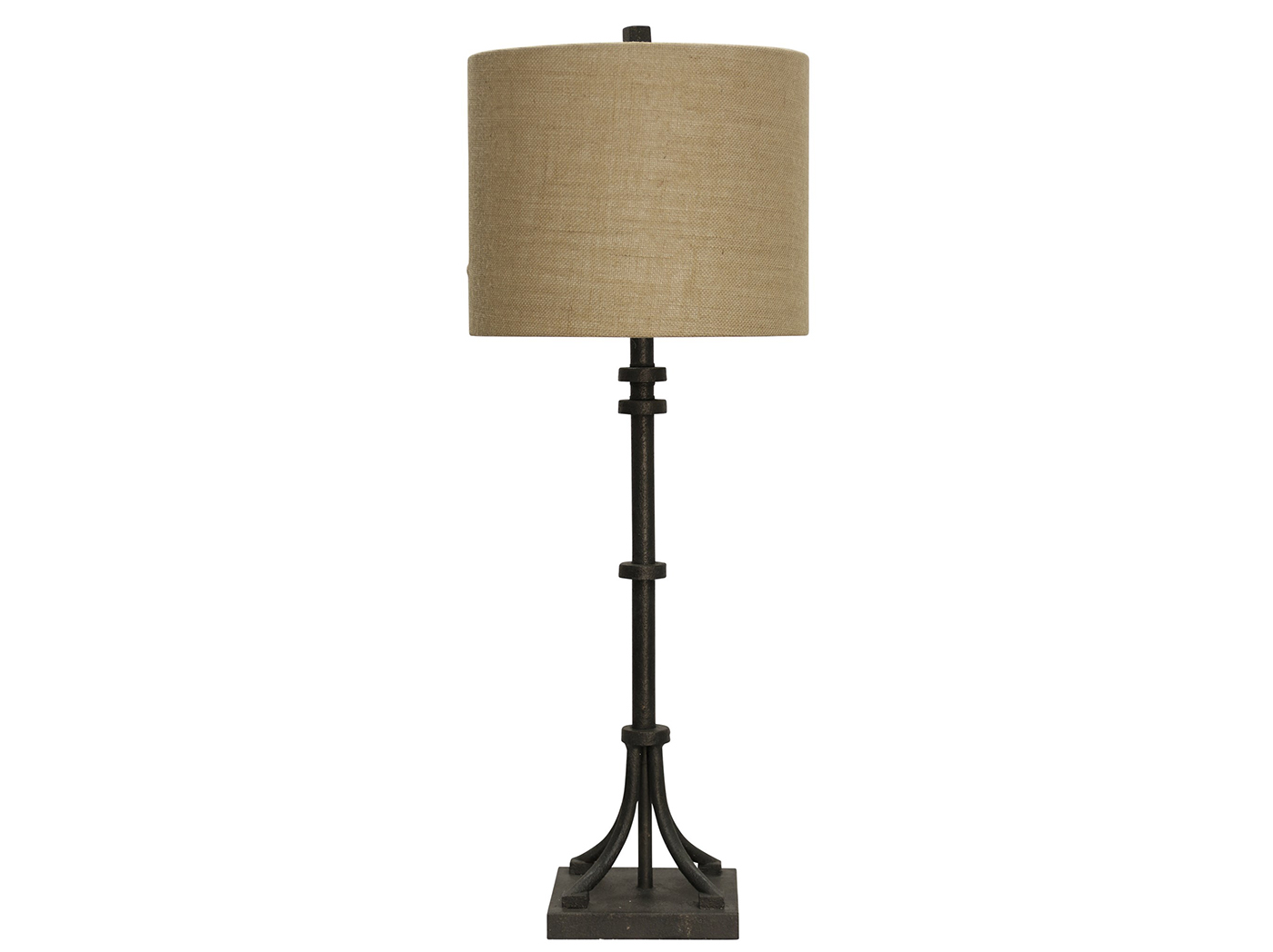"Iron With Natural Shade Table Lamp 36""H"