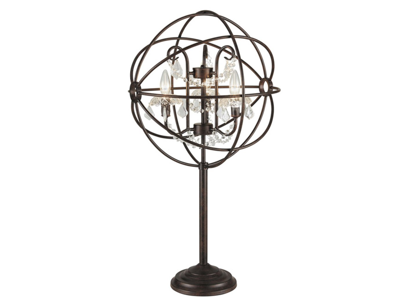 "Bronze Metal Globe With Crystals Table Lamp 33.75""H With Bulbs"