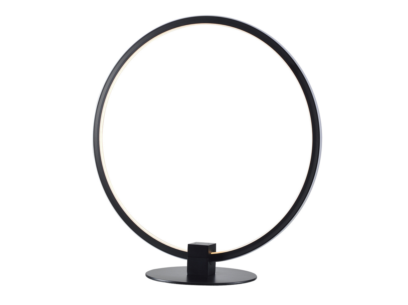 "Black Metal Ring LED Table Lamp 15""H"