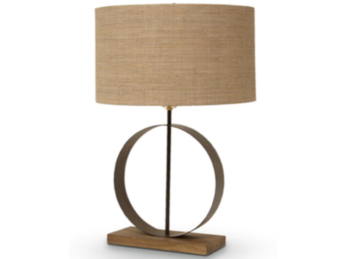 "Metal and Wood Ring Table Lamp 28""H"