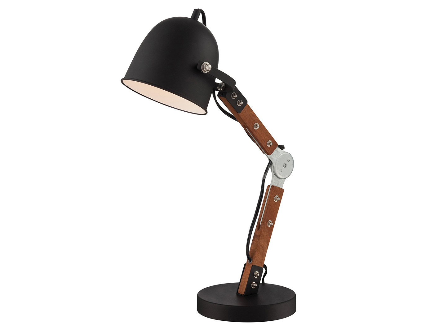 Black Metal and Wood Table Lamp