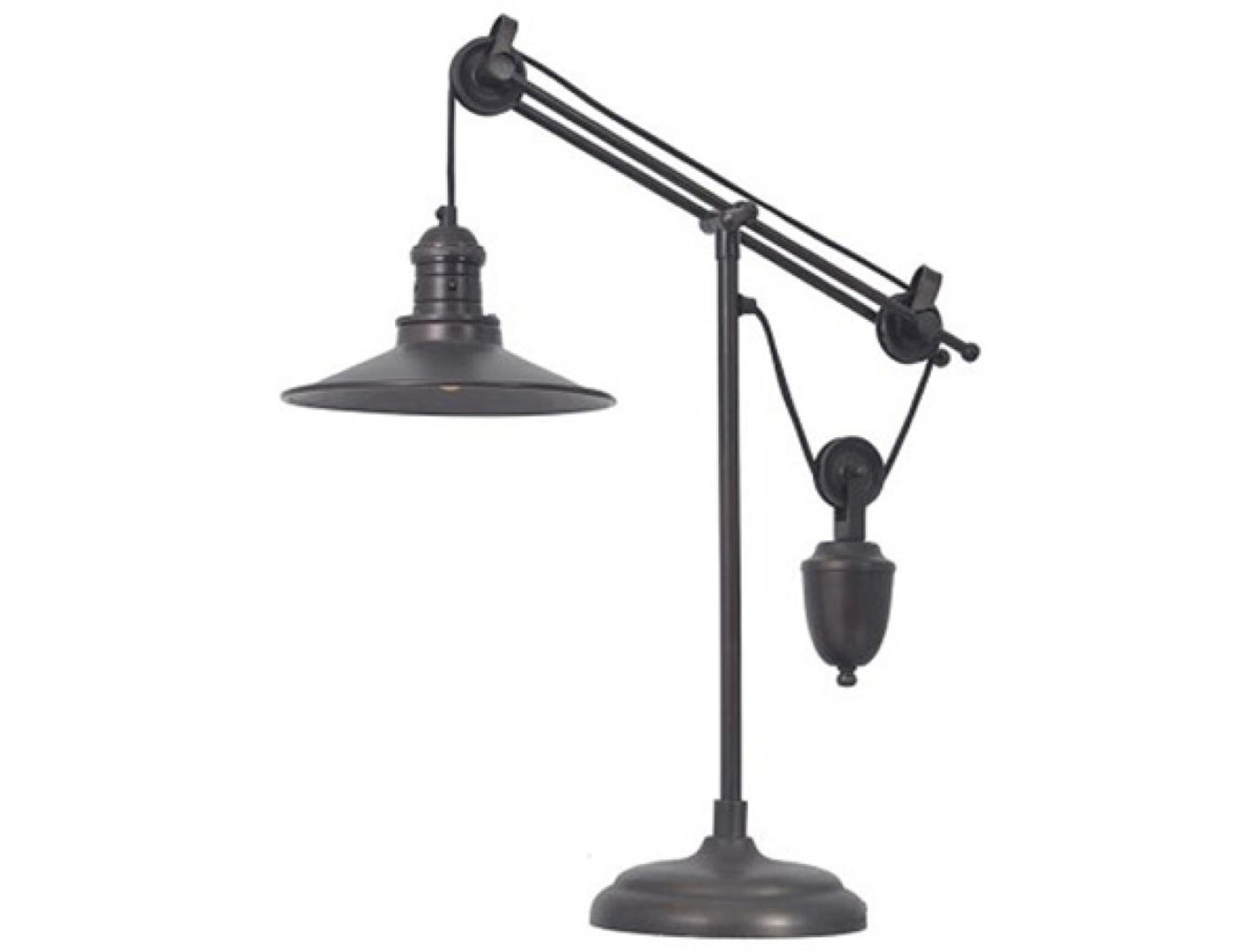 "Bronze Metal Urban Pulley Desk Lamp 25.25""H"