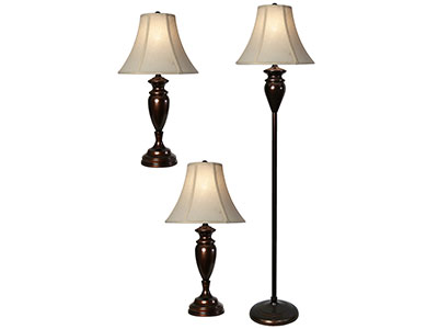 "Set of 3 Urn Shaped Lamps -2 Table Lamps plus 1 Floor Lamp- 28""/61""H"