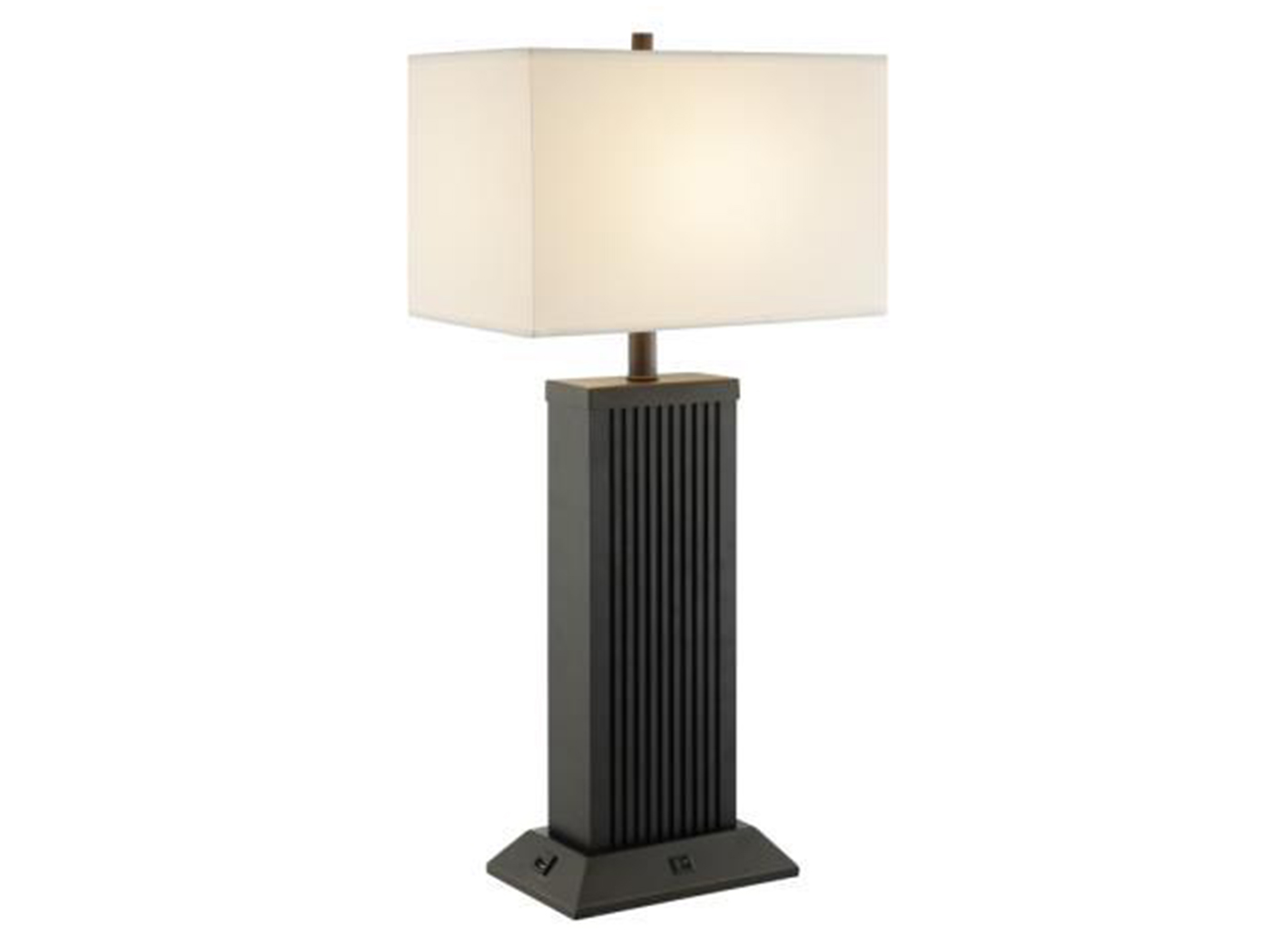 "Bronze Metal USB Table Lamp 30""H"