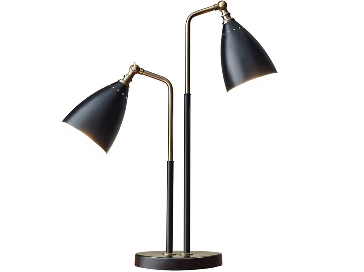"2-Lite Black Metal Table Lamp 24""H"