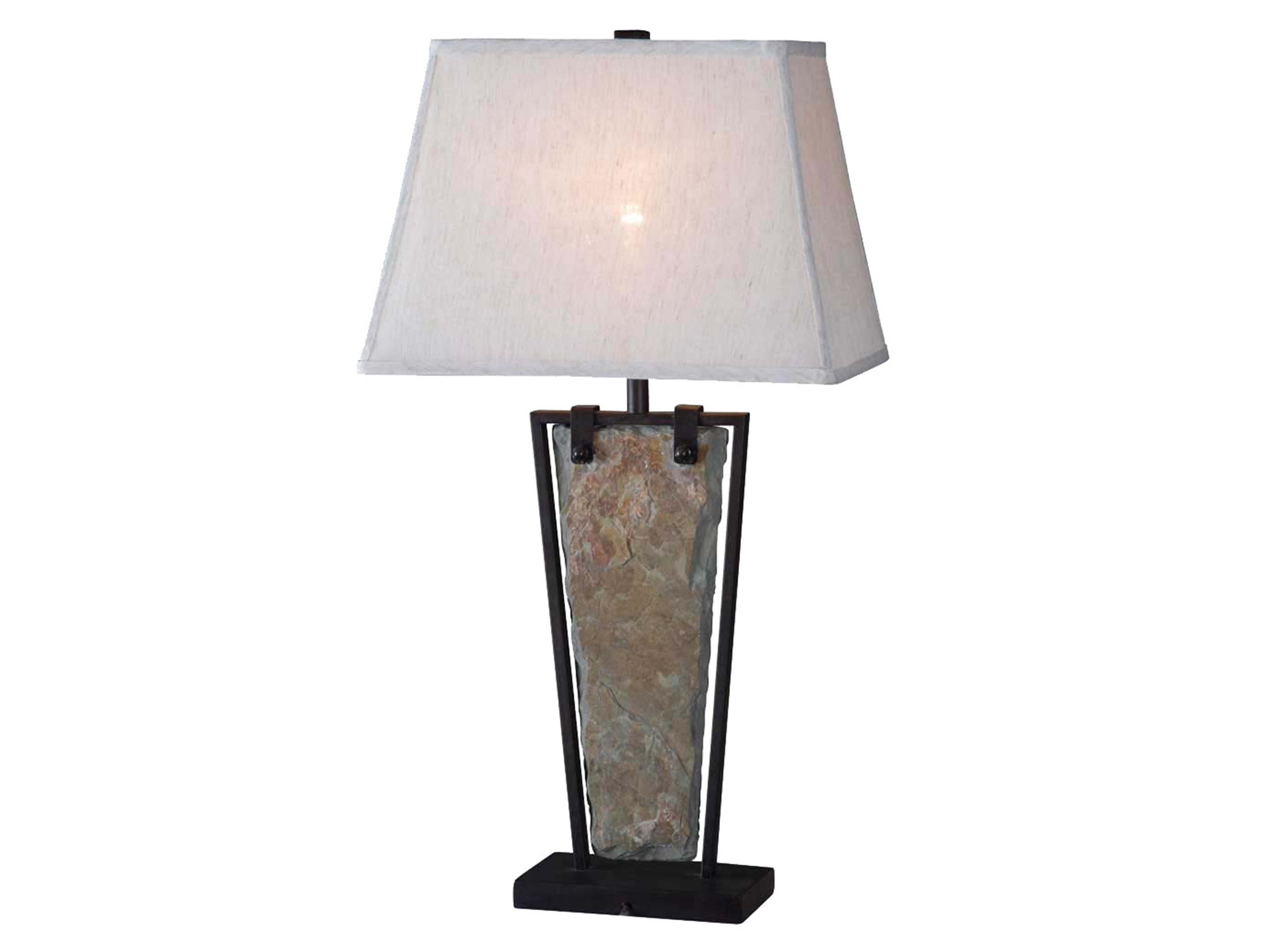 "Slate and Metal Table Lamp 30""H"