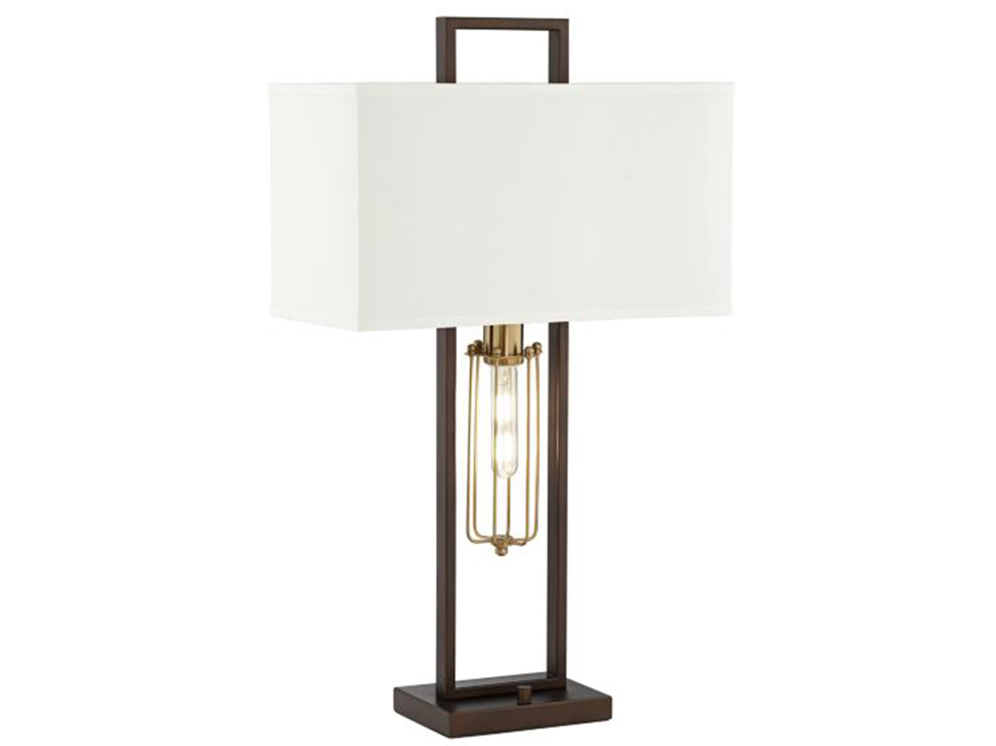 "Bronze Metal With Caged Nite Lite Table Lamp 31""H"