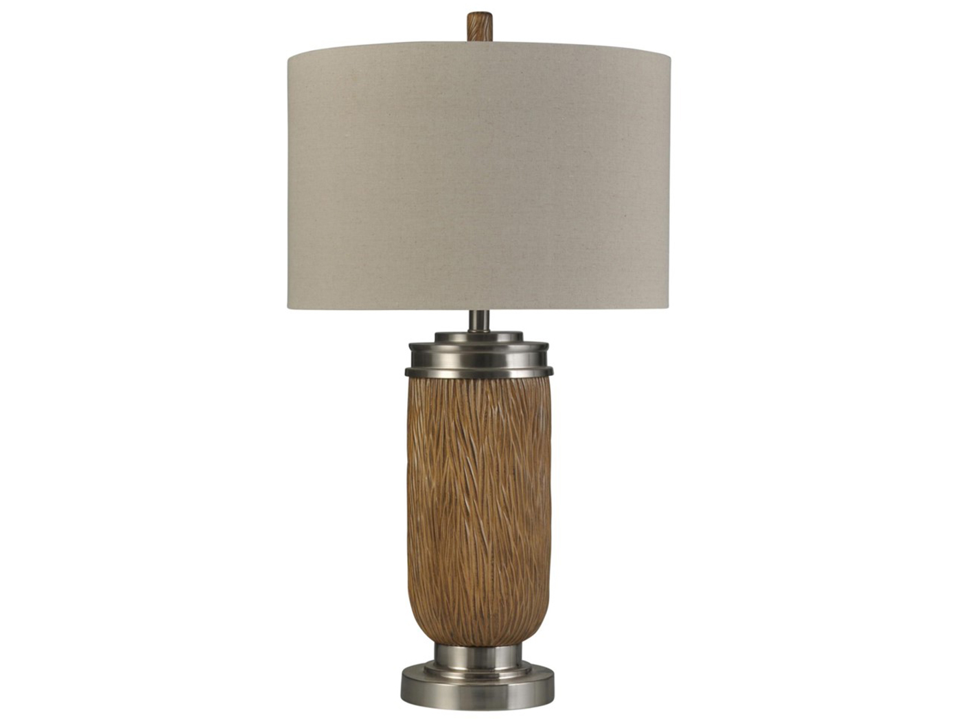 Tan and Chrome Table Lamp 34""