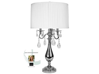 "Steel Table Lamp with Crystals 32""H"