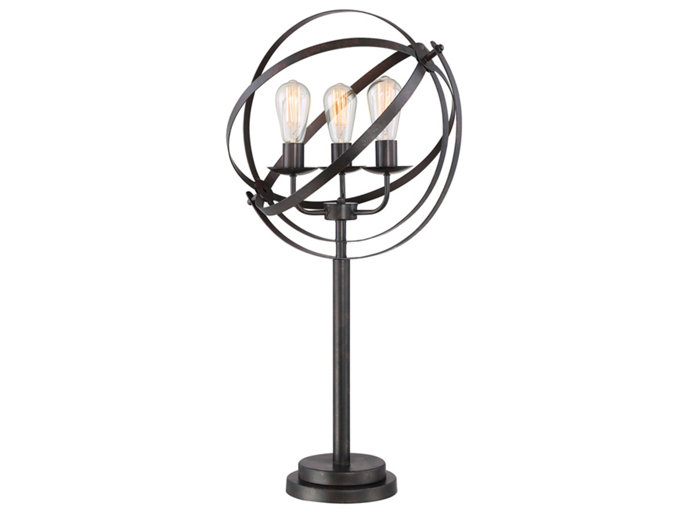 "Black Metal Orb Shade Table Lamp 34""H"
